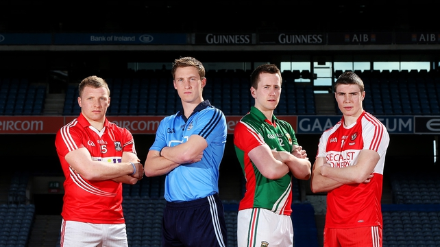 Brian Hurley (Cork), Kevin Nolan (Dublin) Cillian O'Connor (Mayo) and Ciaran McFaul (Derry) at Croke Park ahead of Sunday's match-ups
