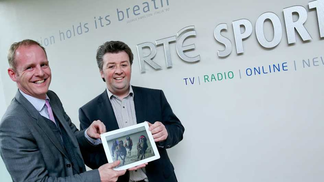 Ryle Nugent, Group Head of RTÉ Sport, and Colin Walsh of Irish Greyhound Board