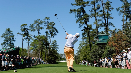 Bill Haas tees off on the final hole en route to a four-under 68 at Augusta National