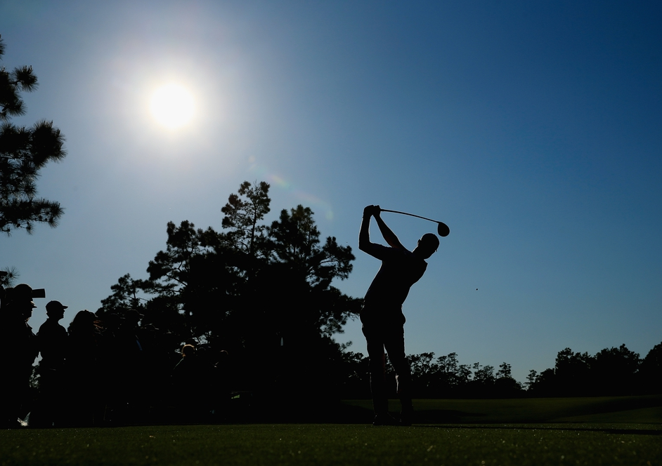 Harris English of the United States hits a shot during the first round of the 2014 Masters Tournament at Augusta National Golf Club