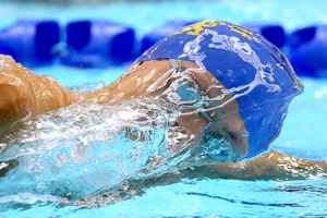 A competitor takes part in the 400m freestyle at the British Swimming Championships