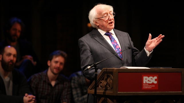 President Higgins gives an address at the Royal Shakespeare Company in Stratford-upon-Avon