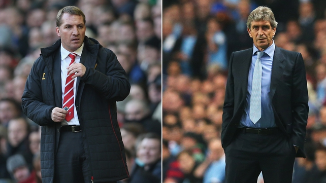 Liverpool's Brendan Rodgers and Manuel Pellegrini of Manchester City go head-to-head on Sunday