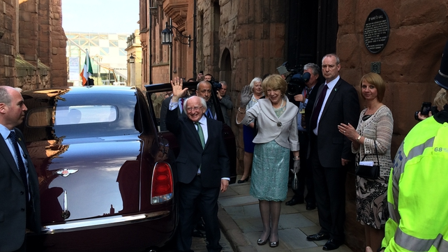 President Michael D Higgins waves as he prepares to leave Coventry
