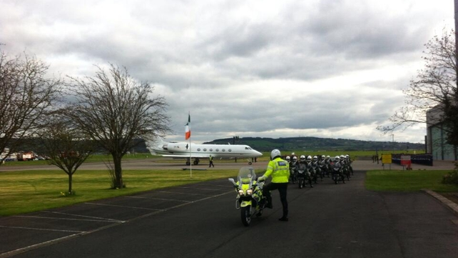 The plane carrying the Presidential party touched down at Casement Aerodrome in Baldonnel just before 6pm