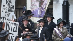 (L-R) Anne-Marie Duff, Carey Mulligan and Helena Bonham Carter take part in filming of the movie Suffragette in London