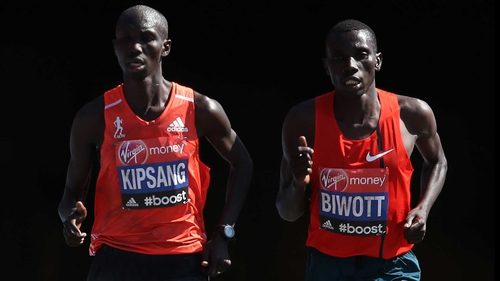 Wilson Kipsang and Stanley Biwott claimed a Kenyan one-two at the London Marathon