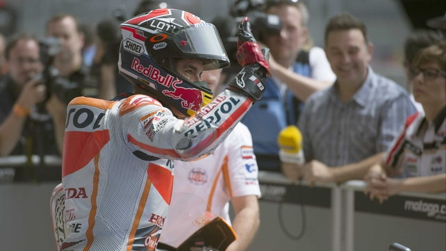 Marc Marquez waves to the crowd at the Circuit of The Americas