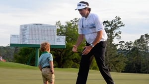 Bubba Watson's son Caleb was waiting for Daddy on the final green