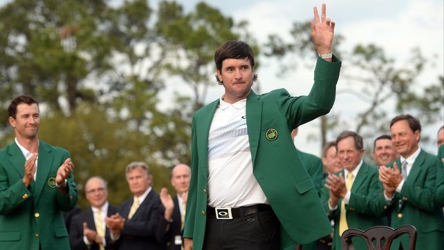 Bubba Watson waves to the patrons after Masters victory number two