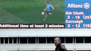 Not a pretty sight: the scoreboard at Croke Park tells a sorry story for Cork's Brian Cuthbert