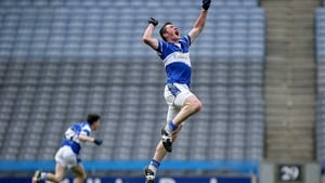 Sean O'Donoghue of Colaiste Choilm Ballincollig's jumps for joy after winning the All-Ireland Vocational Schools Senior Football A title