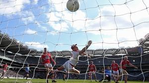 Dublin's Michael Darragh MacAuley scores against Cork at Croke Park