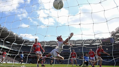 Dublin's Michael Darragh MacAuley fires home a goal in front of Hill 16 at Croke Park