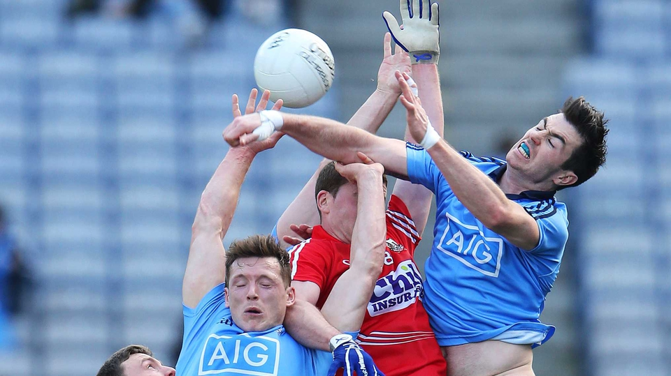 Dublin and Cork contest a hight ball at Croker