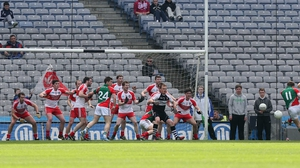 Andy Moran of Mayo misses with a late chance to win the game
