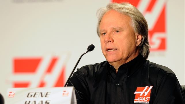 Gene Haas speaking at the Concord Convention Center earlier today