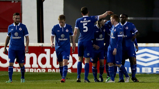Aaron Green is mobbed after scoring Sligo's third goal
