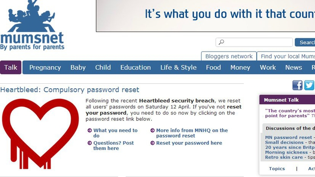 British parenting website Mumsnet is the latest organisation to have been hacked due to the 'Heartbleed' bug