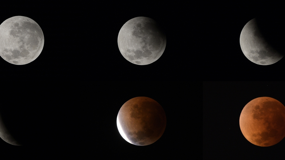 A combo of six pictures shows the phases of the moon (from top L to bottom R) during a lunar eclipse in Buenos Aires