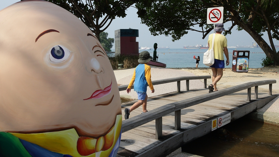 A hand painted 'Humpty Dumpty' giant egg in Sentosa, Singapore, part of Easter festivities