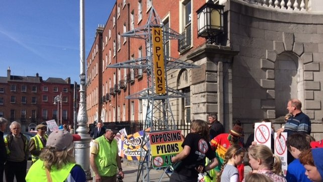 Some protested against pylons