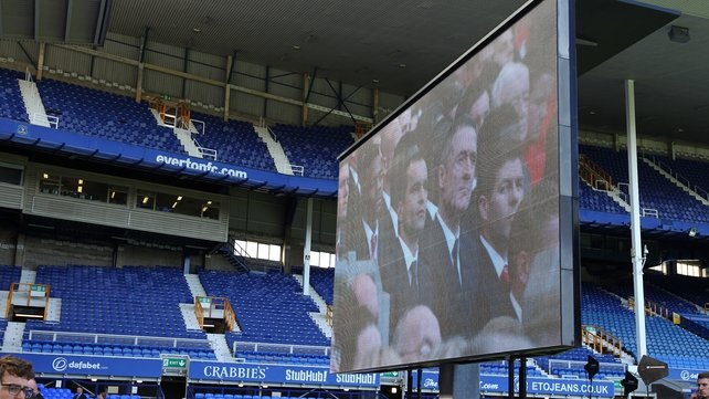 A screen was set up across Stanley Park at Goodison Park, the home of Liverpool's City rivals Everton