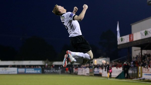 Chris Shields jumps for joy after scoring the decisive goal