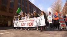 Anti-pylon and anti-wind turbine groups protest in Dublin