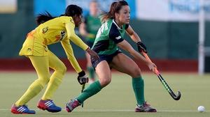 Ireland's Anna O'Flanagan (R) under pressure from Soundarya Yendala of India