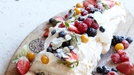 "Monica's Berry Baileys Meringue Roulade - Rozanne says: ""This is my mom's favourite dessert – a gorgeous confection of marshmallowy meringue, plenty of summer berries and whipped cream. I love adding a good splash of Baileys Irish cream liqueur for a little sophistication."""