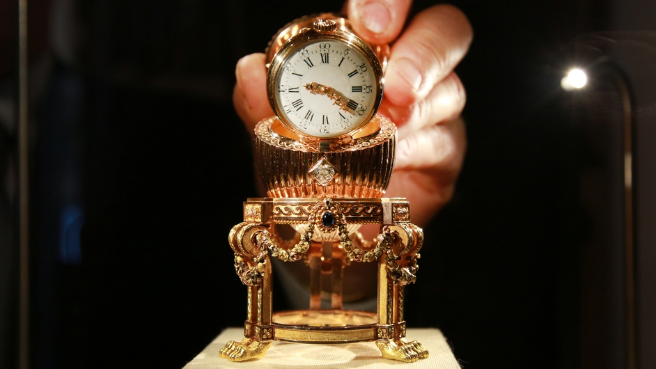 A Faberge Easter Egg bought for scrap-metal value goes on display in London