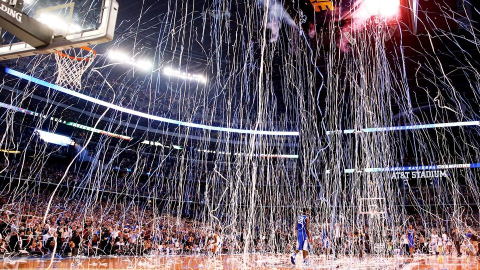 Confetti falls after the Connecticut Huskies defeated the Kentucky Wildcats in the NCAA Men's Final Four Championship