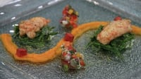 Pan seared langoustine tails, prawn ceviche, carrot puree, samphire sauce + lime and mint dust - Fish challenge