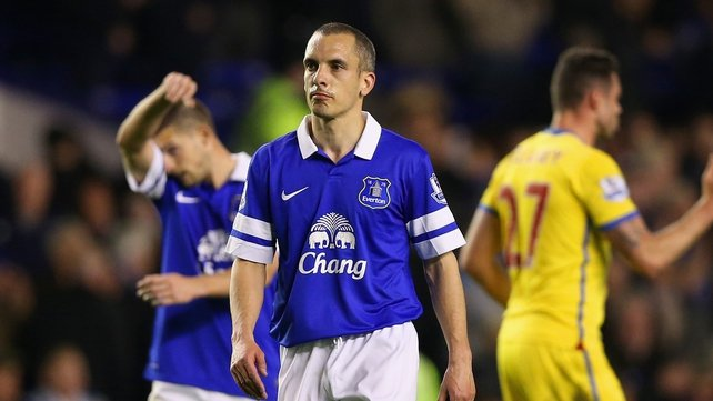 Leon Osman reacts after defeat