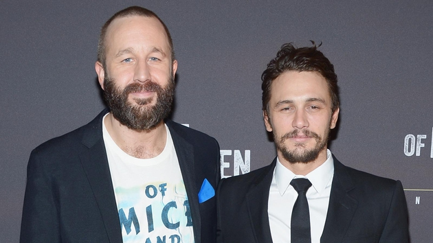 Chris O'Dowd and James Franco at last night's opening night party in New York