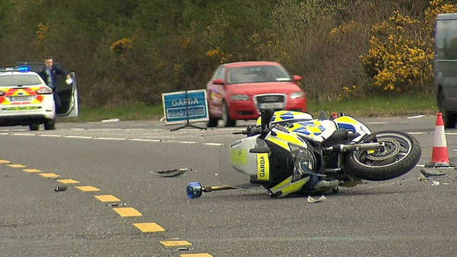A garda was injured when his motorcycle was rammed by a stolen van