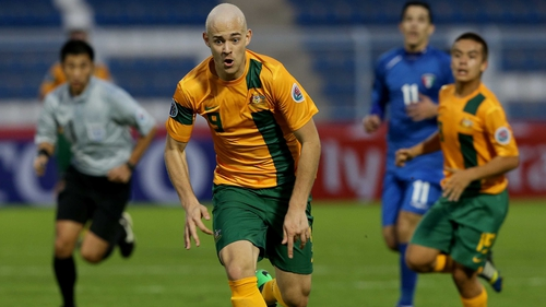 Dylan Tombides in action for the Australia Under-22 side in January
