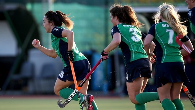 Anna O'Flanagan celebrates after scoring for Ireland