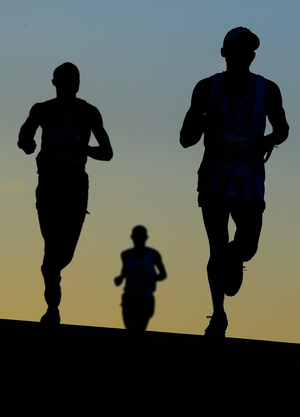 Runners take part in the Two Oceans Marathon in Cape Town, South Africa.