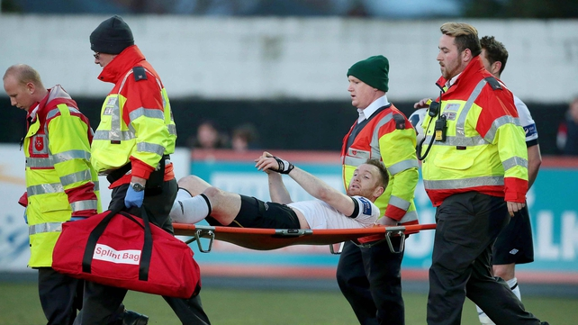 Stephen O'Donnell was stretchered off last night at Oriel Park