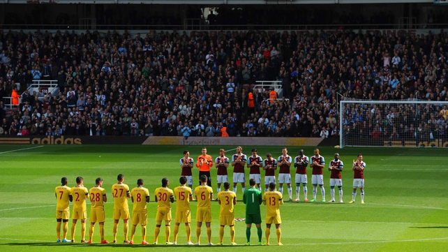 West Ham and Crystal Palace stand in memory of young West Ham striker Dylan Tombides who died from cancer on Friday