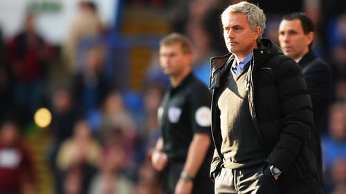 Jose Mourinho looks on during his side's defeat to Sunderland