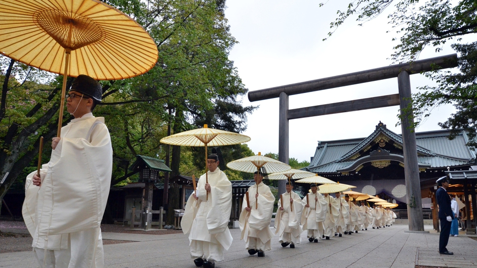 Shinto priests on the first day of the three-day spring festival at the controversial Yasukuni war shrine in Tokyo
