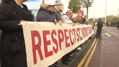 Protests were staged by residents near St Patrick's Church