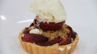 Glazed plum and frangipane tart with a roasted plum, ginger crumble and a crème frais sorbet. - Hugh's dessert recipe from the two course challenge