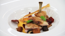 Quail with colours of autumn (sweet potato puree, beetroot glazed shallots + wild mushroom)
