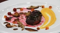 Pan-fried Wood Pigeon with Carrot Purée, Butternut Squash, mushrooms, Redcurrant Syrup and a Red Wine Reduction with Redcurrants. - Niamh's main course recipe from the two course challenge