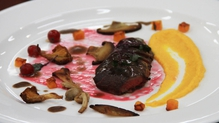 Pan-fried Wood Pigeon with Carrot Purée, Butternut Squash, mushrooms, Redcurrant Syrup and a Red Wi