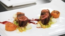 Duck breast, creamed cabbage, celeriac puree, red wine jus, sweet potato fondant, duck skin crumble